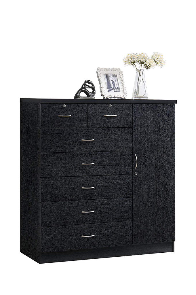 Hodedah HI71DR Chocolate 7 Locks on 2-Top Plus 1-Door with 3-Shelves Chest of Drawers