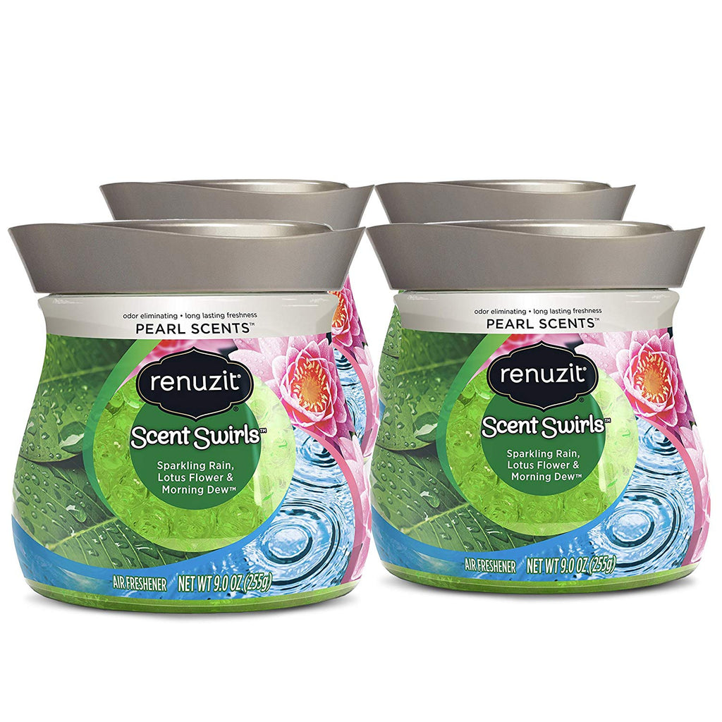 Renuzit Pearl Scents Air Freshener, Sparkling Rain, Lotus Flower & Morning Dew, 9 Ounces (4 Count)