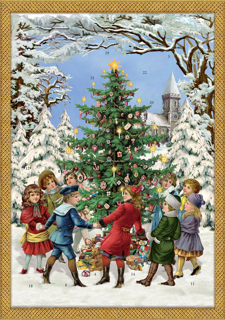 Coppenrath Unique Traditional Advent Christmas Calendar - Premium Made in Germany - Dancing Around the Christmas Tree