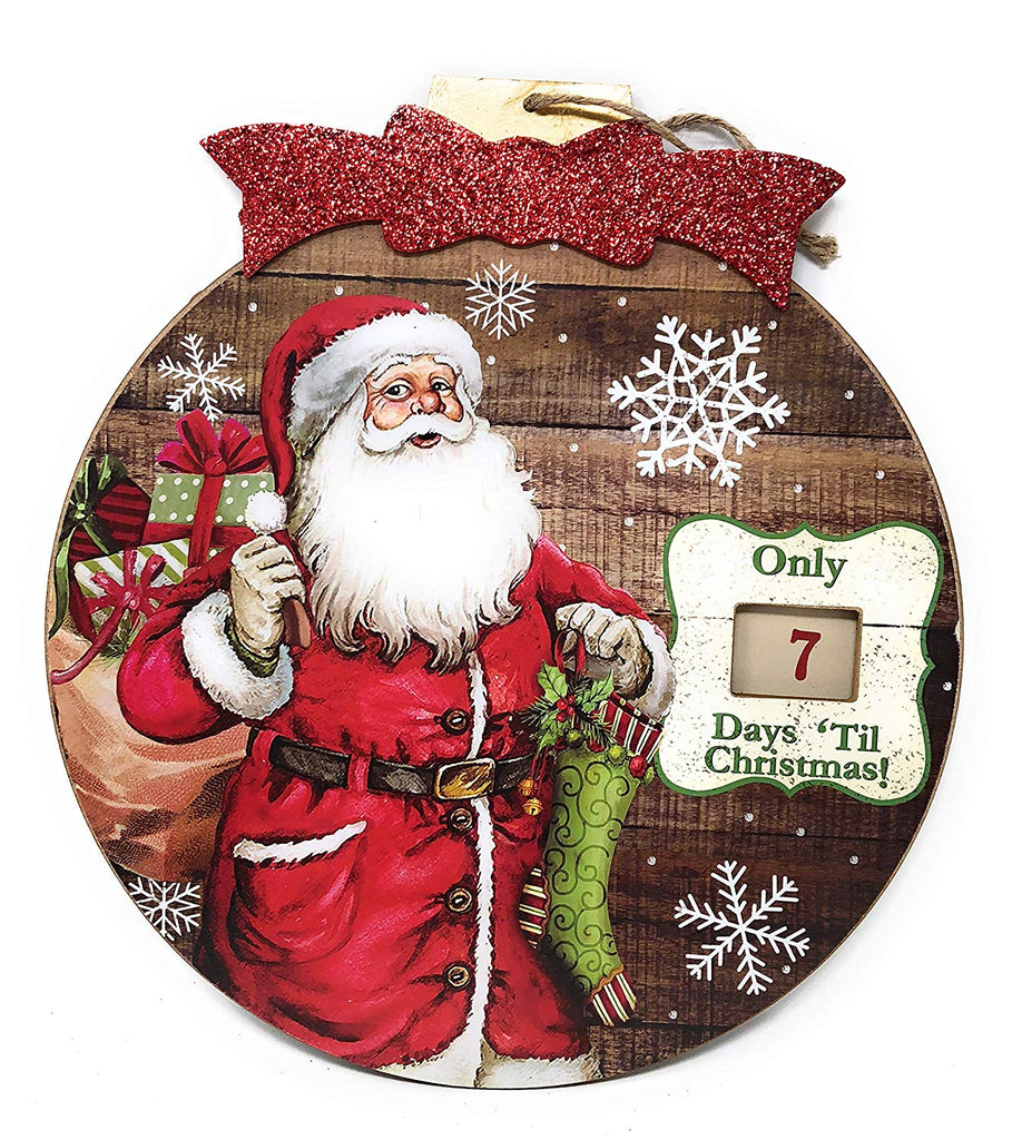 Indoor/Outdoor Hanging Kris Kringle Santa Claus Advent Calendar for the Holidays, Wooden Wall & Door Ornament Shaped Decoration - Days Until Christmas