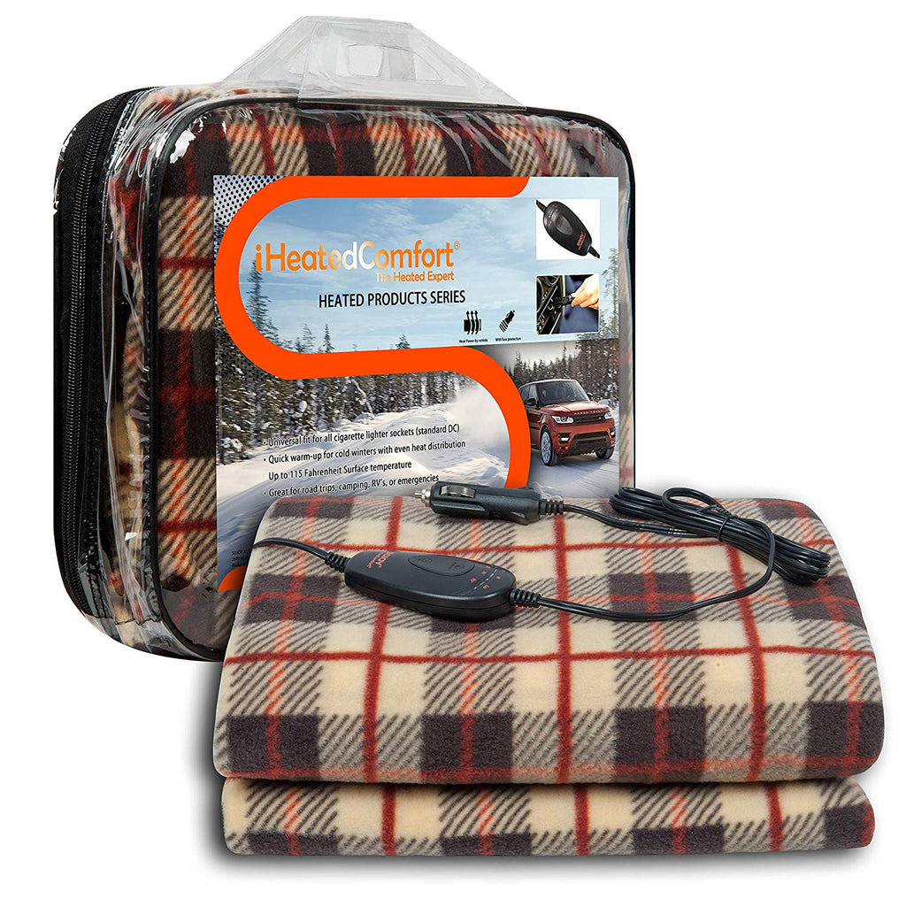 iHealthComfort 12V Electric Heated Travel Blanket with Intelligent Temp Control