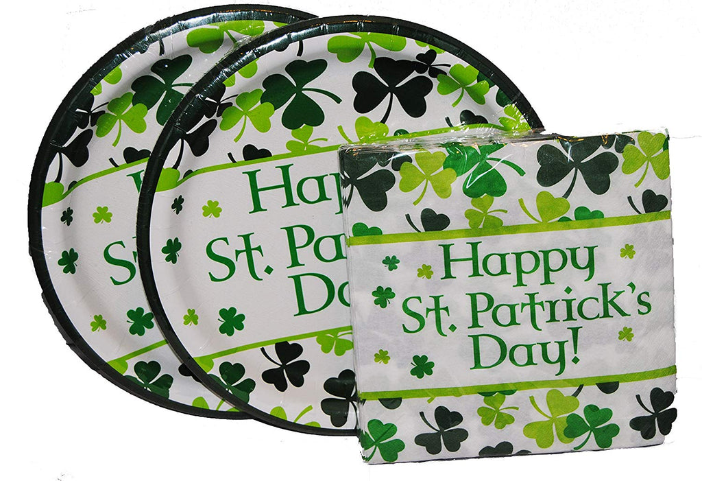 Happy St.Patrick's Day Lunch Plates and Napkins for 16