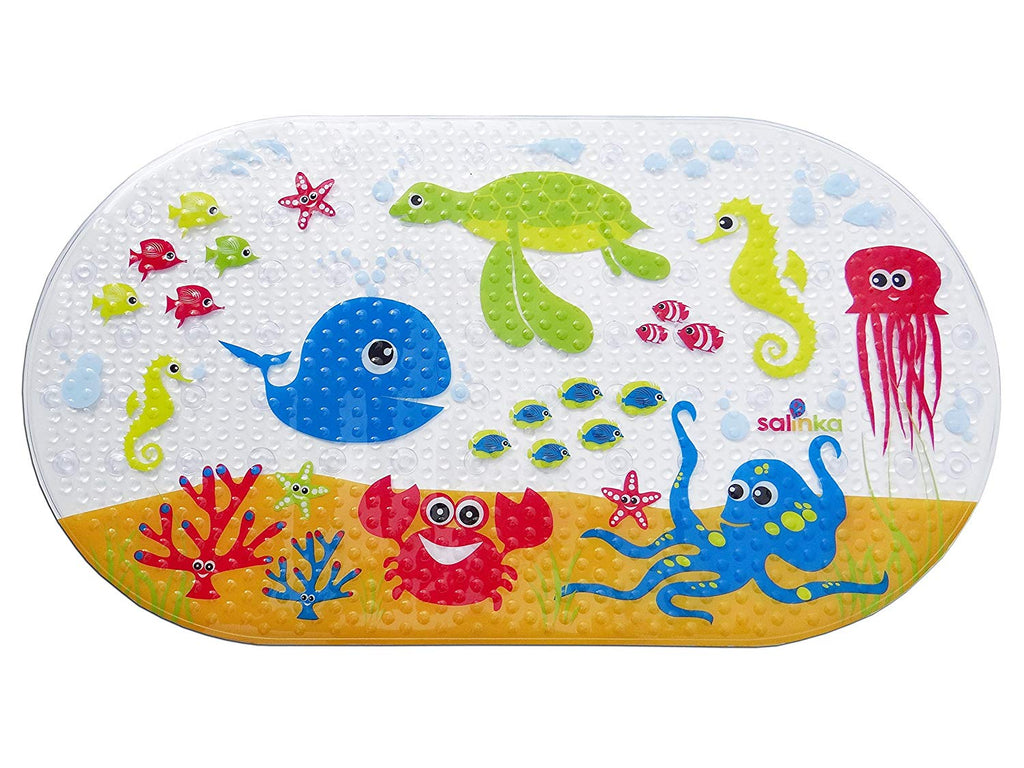 Salinka Ocean Anti Slip Baby Bath Mat - Phatalates and Lead FREE - Non Slip Mat for Bathtub and Shower - Durable Mildew Mold Resistant PVC - Many Stro