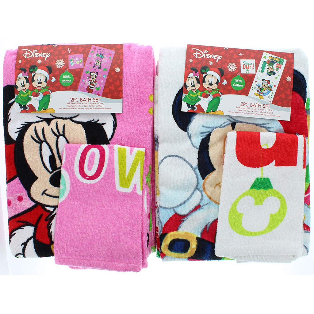 Useful Universe Disney Mickey & Minnie Bells and Bows Christmas and Oh What Fun Towel Set