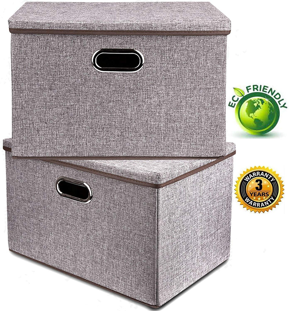 Large Linen Fabric Foldable Storage Container [2-Pack] with Removable Lid and Handles,Storage bin box cubes Organizer - Gray For Home, Office, Nursery