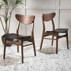 Adelade Dark Brown Leather/Walnut Finish Mid Century Modern Dining Chair (Set of 2)