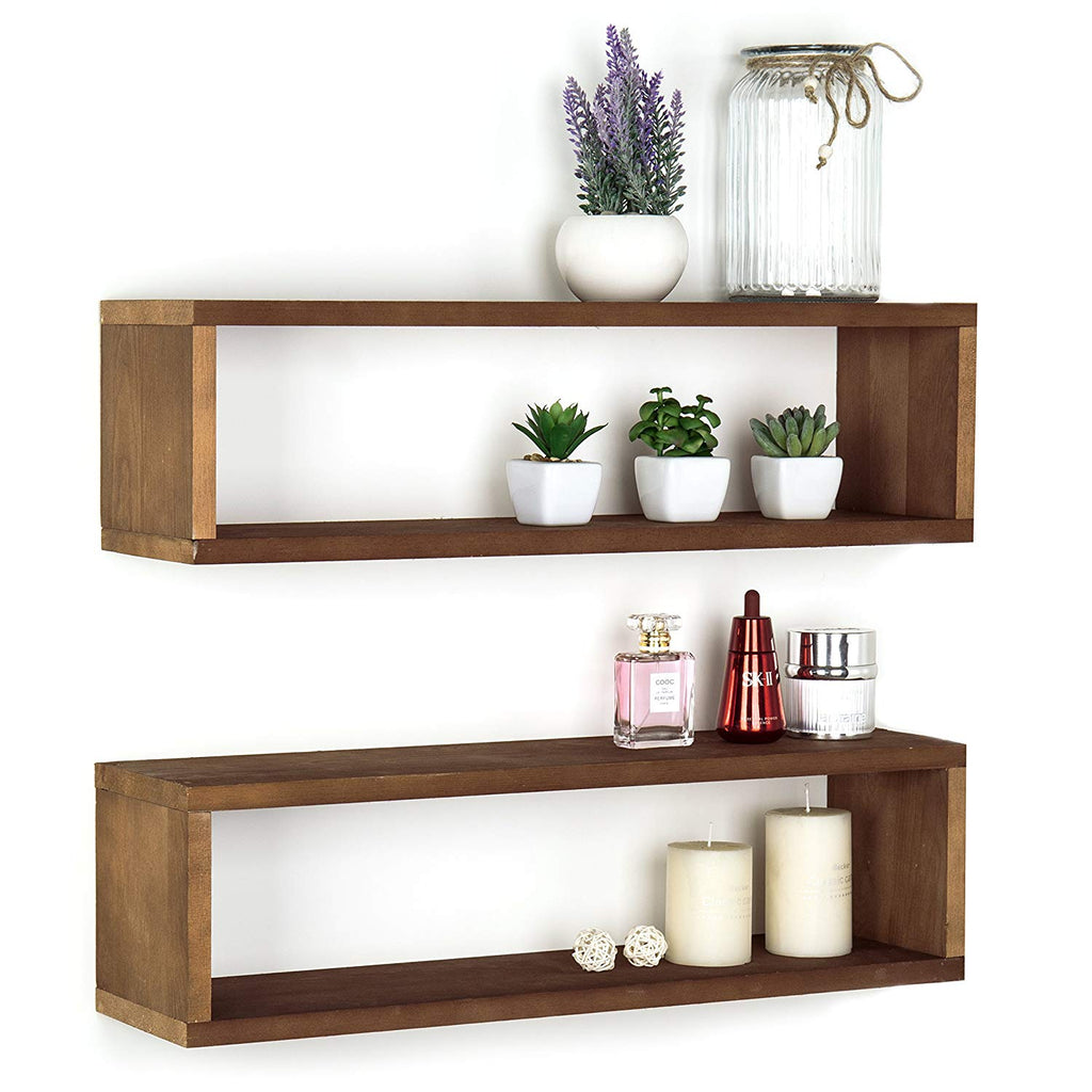 MyGift Natural Wood Finish Wood Wall Mounted 24-Inch Floating Shelf, Rectangular Display Shadow Boxes, Set of 2