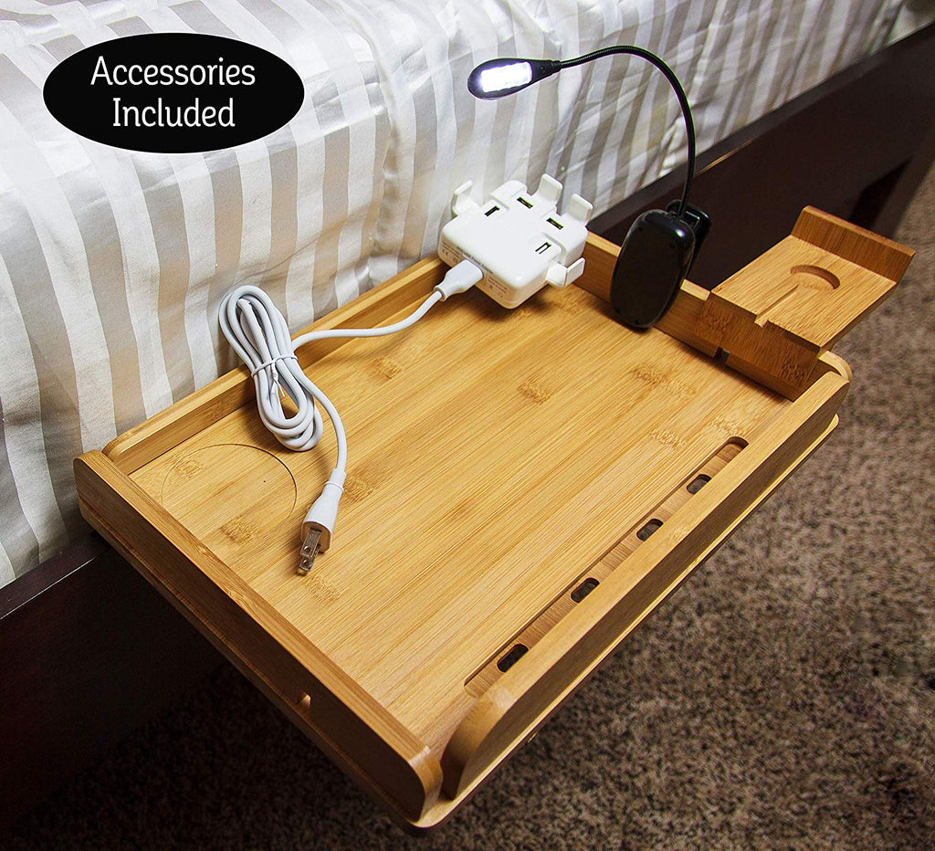 MintCreek Bed Shelf 2.0 | Optimized for Device Charging | Removable Sides | 10 Power Cord Slots | for Bedside Shelf Storage, College Dorm Rooms, Bunk