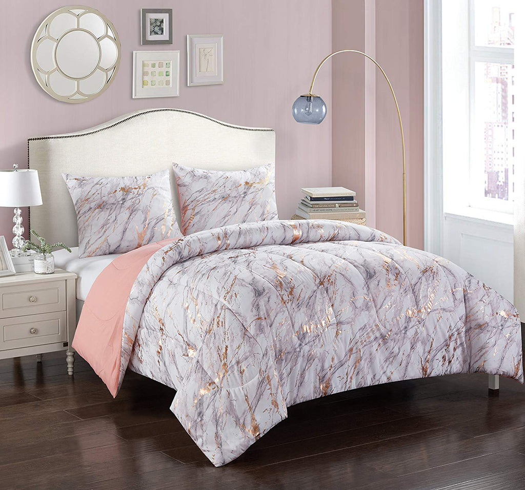 Pop Shop Marble Comforter Set Twin Rose Gold