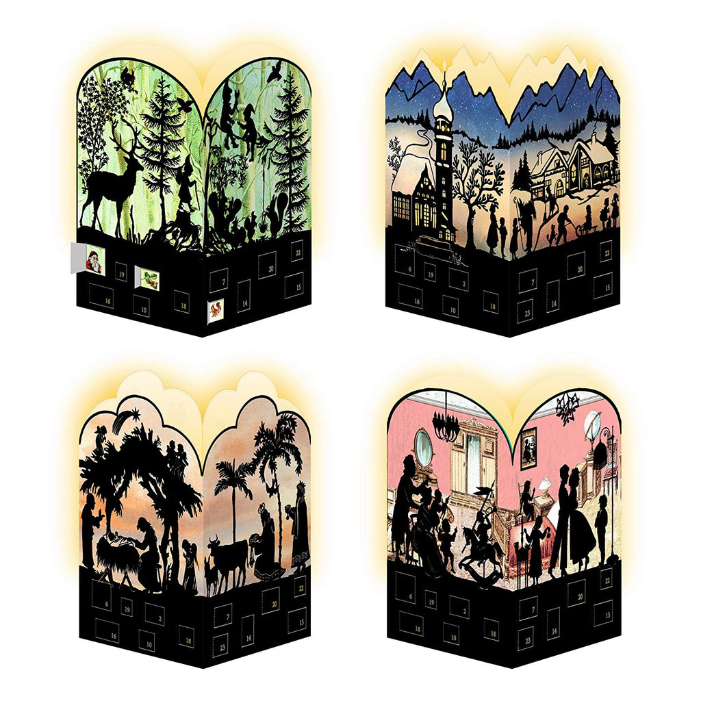 Coppenrath Unique Advent Christmas Calendar Mini Lanterns - Premium Made in Germany - Quaint Silhouette German Christmas House - Pack of 4