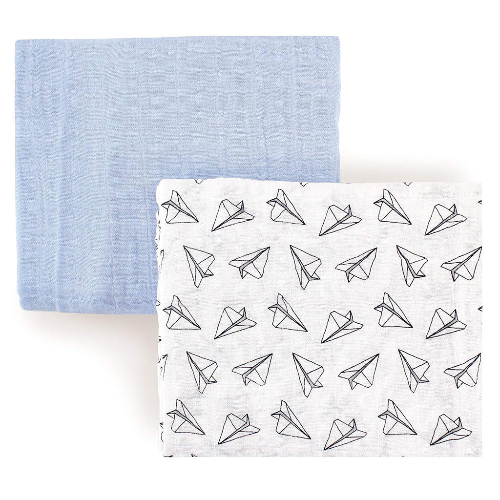 Hudson Baby Muslin Swaddle Blankets, 2 Pack, Boy Airplanes
