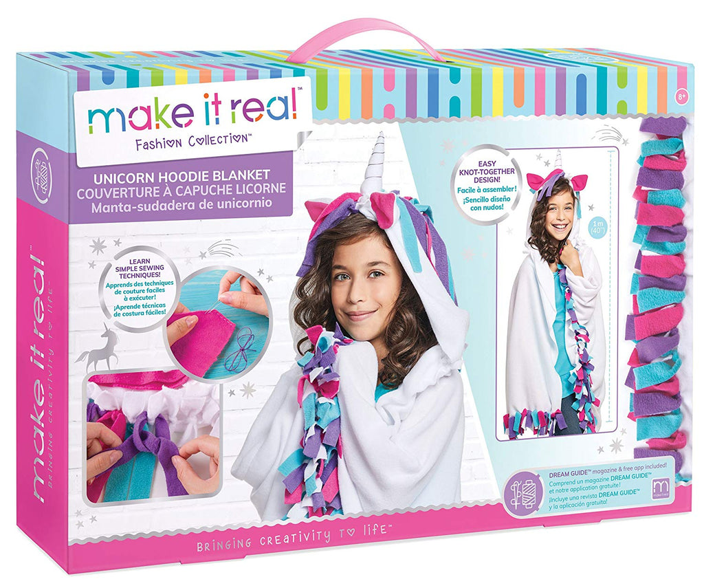 Make It Real Unicorn Hoodie Blanket. Wearable Unicorn Hooded Blanket Arts and Crafts Kit for Girls. DIY Kit Guides Tweens to Create Their Own Unicorn