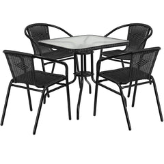 Flash Furniture 28'' Square Glass Metal Table with Dark Brown Rattan Edging and 4 Dark Brown Rattan Stack Chairs