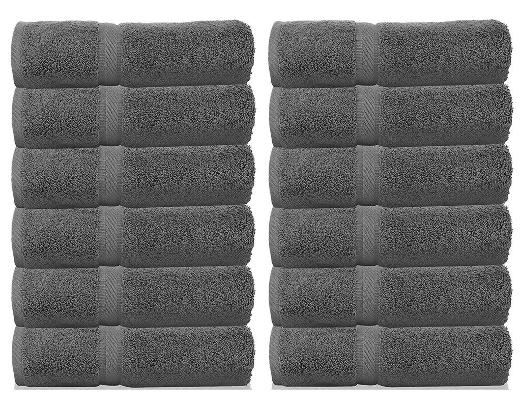 WhiteClassic Luxury Washcloths for Bathroom-Hotel-Spa-Kitchen - Circlet Egyptian Cotton - Highly Absorbent Hotel Quality Face Towels - Bulk Set of 12