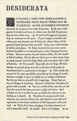 Desiderata Gallery The Desiderata Poem by Max Ehrmann. 11 X 17 Poster on Archival Parchment Paper