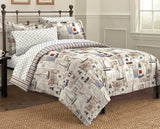 Free Spirit Cape Cod Seaside Sailing Nautical Bedding Comforter Set, Multi-Colored, Queen