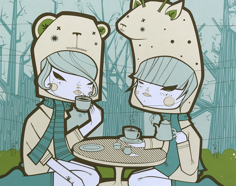 """Bear Giraffe Tea Party"" Screen Print"