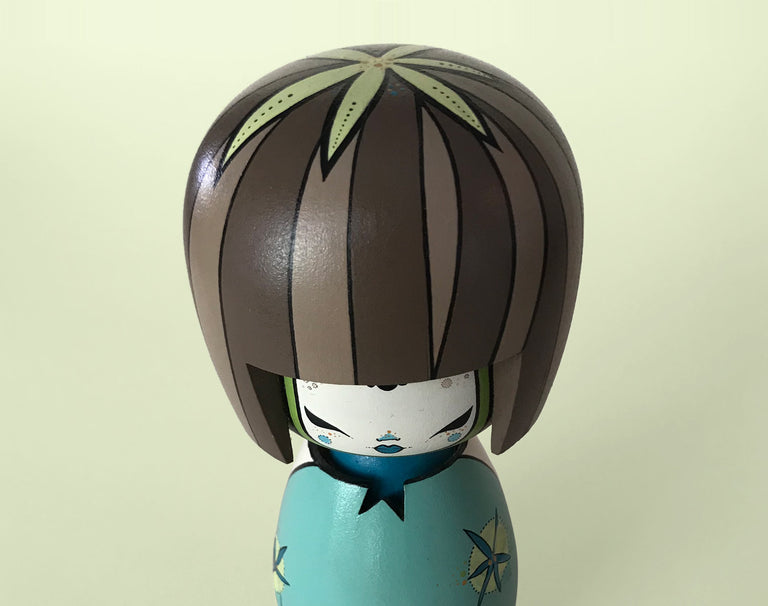 Custom Blue Kokeshi Toy