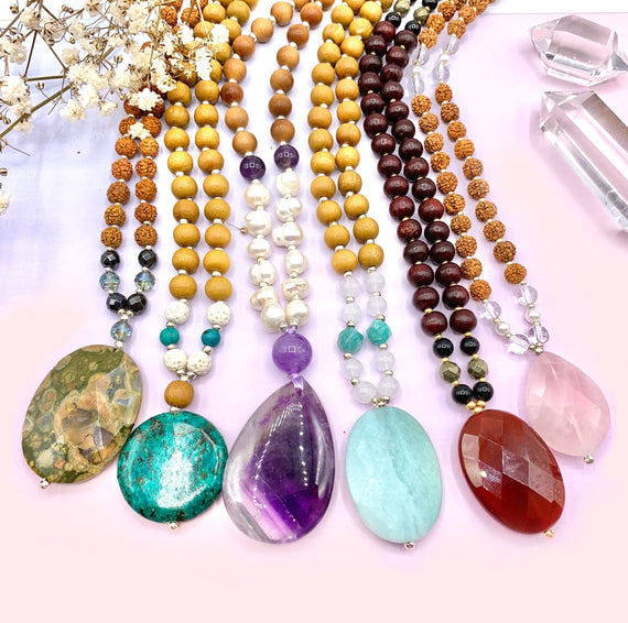 108 Mala Beads Gemstone Crystal Mala Beads Intentional Jewelry