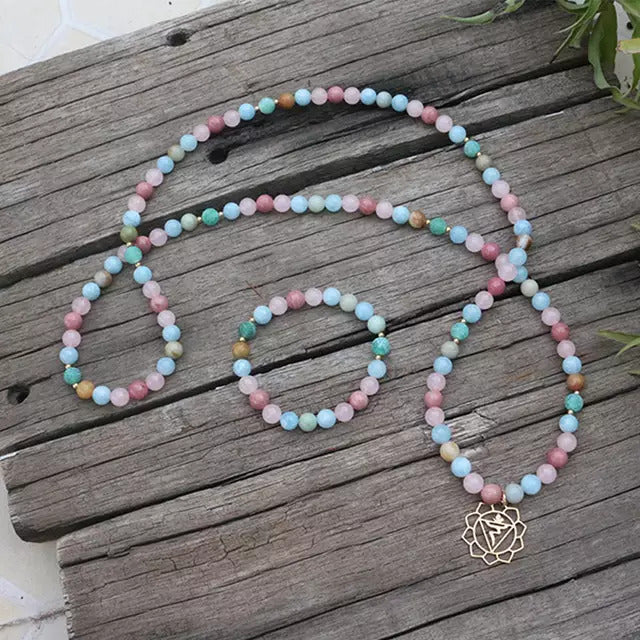 True Love Mala Bead Necklace - Mala Beads Meditation Accessories and Yoga Jewelry by Tiny Devotions