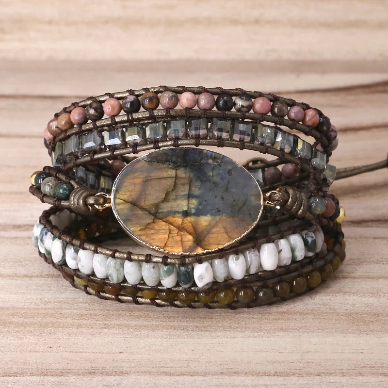 Labradorite Wrap Mala Bracelet - Tiny Devotions Gemstone 108 Mala Beads Intentional Jewelry
