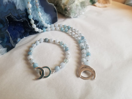 Aquamarine Limitless Bracelet - Mala Beads Meditation Accessories and Yoga Jewelryby Tiny Devotions