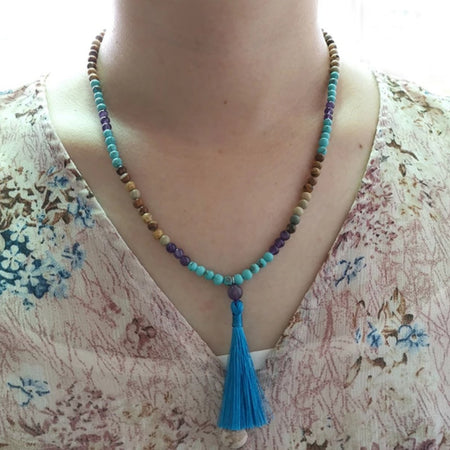 Tiny Blue Silk Tassel Mala - Mala Beads Meditation Accessories and Yoga Jewelryby Tiny Devotions