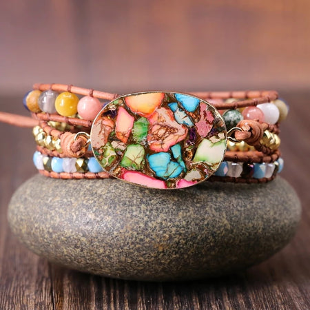 Wanderlust Wrap Bracelet - Mala Beads Meditation Accessories and Yoga Jewelryby Tiny Devotions