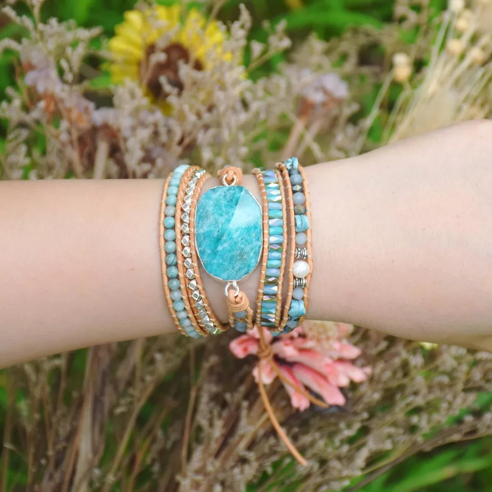 Amazonite Wrap Bracelet - Tiny Devotions Gemstone 108 Mala Beads Intentional Jewelry