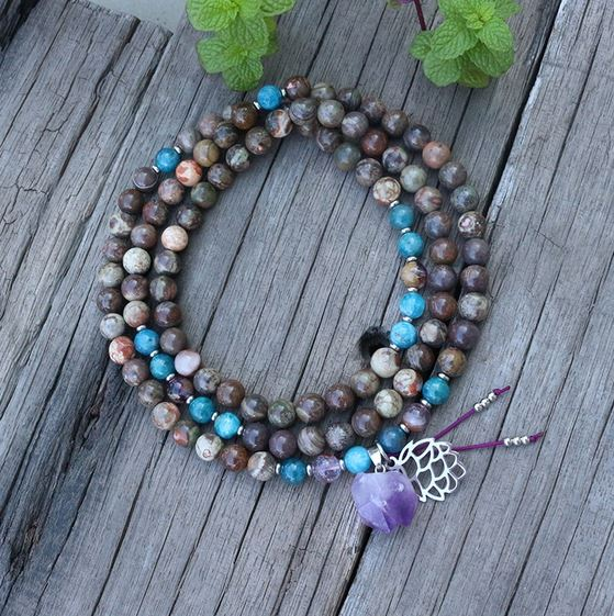 Amethyst Spiritual Mala Bead Necklace - Tiny Devotions Gemstone 108 Mala Beads Intentional Jewelry