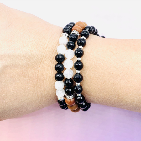 Black Onyx Strength Bracelet Stack - Mala Beads Meditation Accessories and Yoga Jewelryby Tiny Devotions