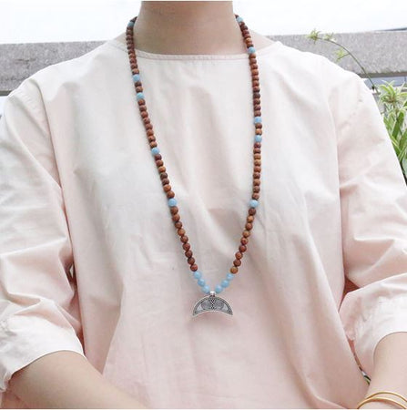 Be Brave Mala Bead Necklace - Mala Beads Meditation Accessories and Yoga Jewelryby Tiny Devotions