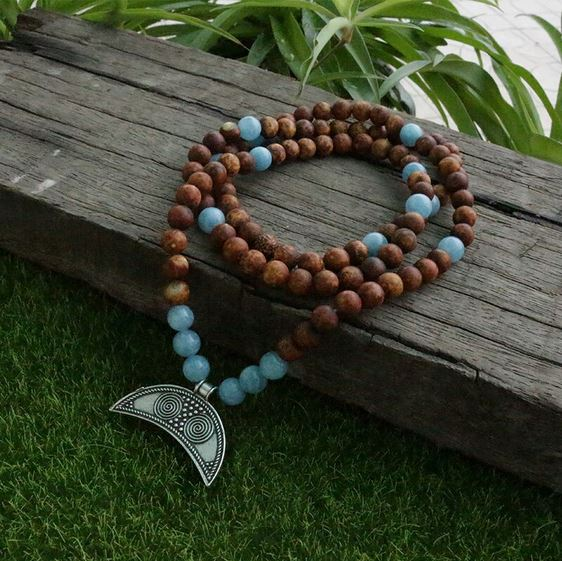 Be Brave Mala Bead Necklace - Tiny Devotions Gemstone 108 Mala Beads Intentional Jewelry
