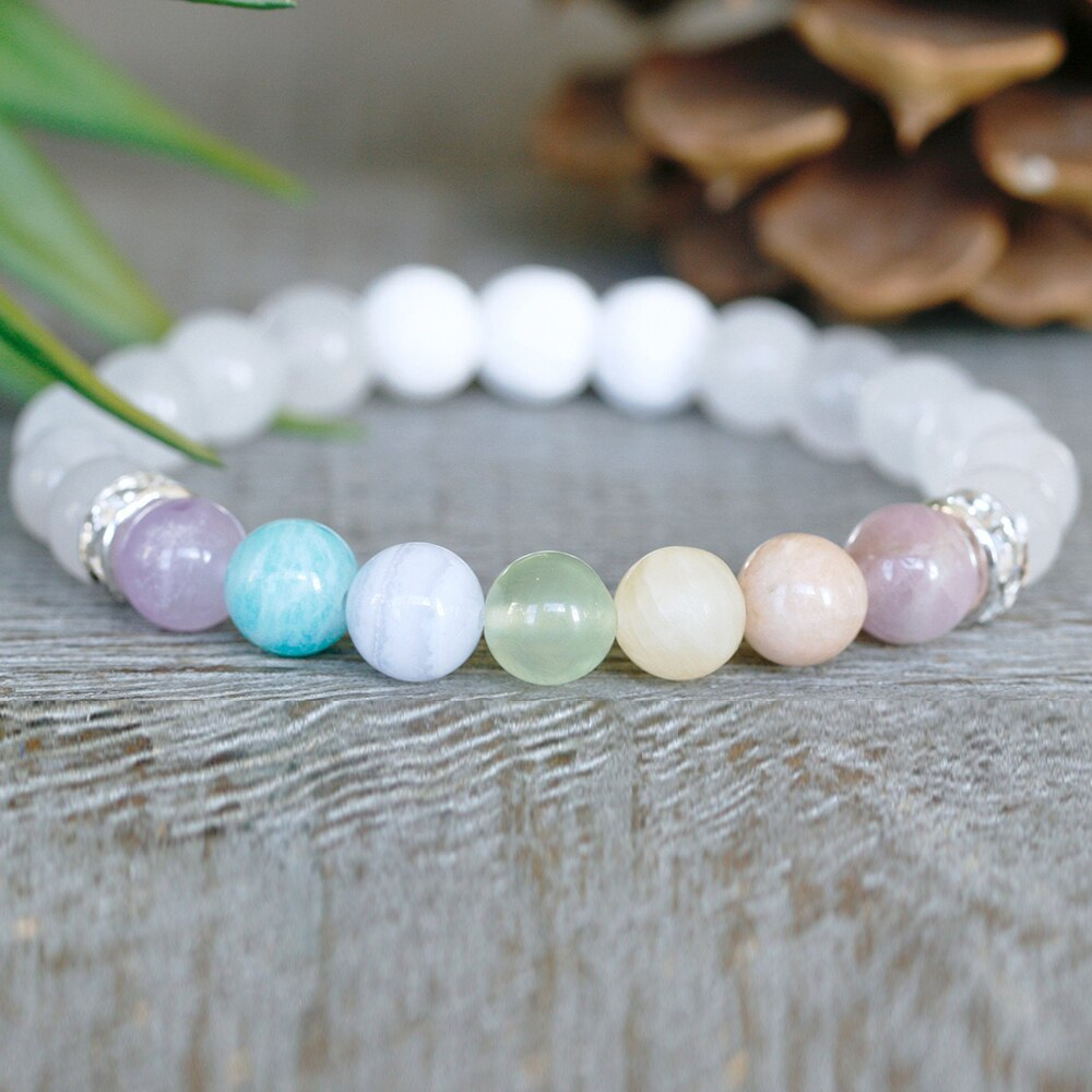 7 Chakras Mala Bead Bracelet - Tiny Devotions Gemstone 108 Mala Beads Intentional Jewelry