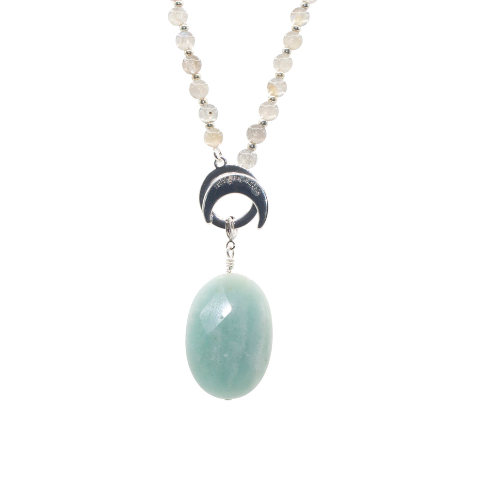 Amazonite Limitless Amplifier- Silver - Tiny Devotions Gemstone 108 Mala Beads Intentional Jewelry