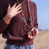 Mookaite Determination Mala Bead Necklace - Tiny Devotions Gemstone 108 Mala Beads Intentional Jewelry