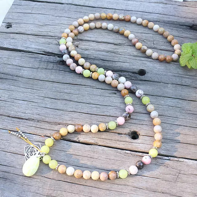Choose Happiness Mala Bead Necklace - Mala Beads Meditation Accessories and Yoga Jewelry by Tiny Devotions