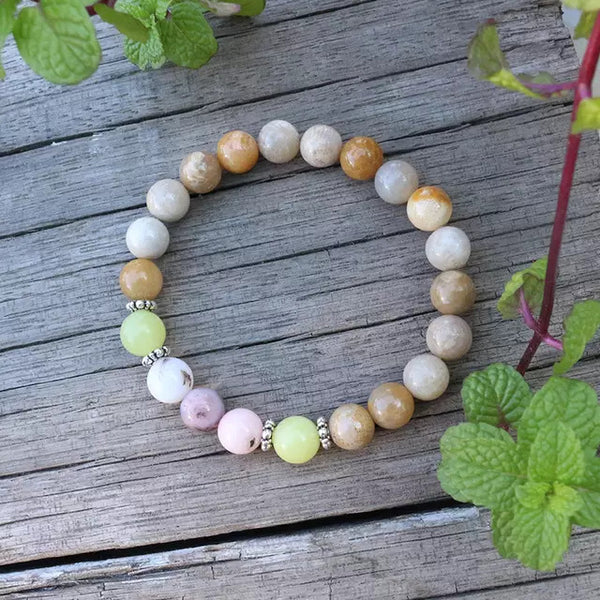 Choose Happiness Mala Bead Bracelet - Tiny Devotions Gemstone 108 Mala Beads Intentional Jewelry