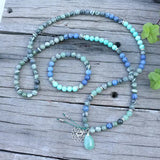 Chakra Cleansing Mala Bead Necklace - Tiny Devotions Gemstone 108 Mala Beads Intentional Jewelry