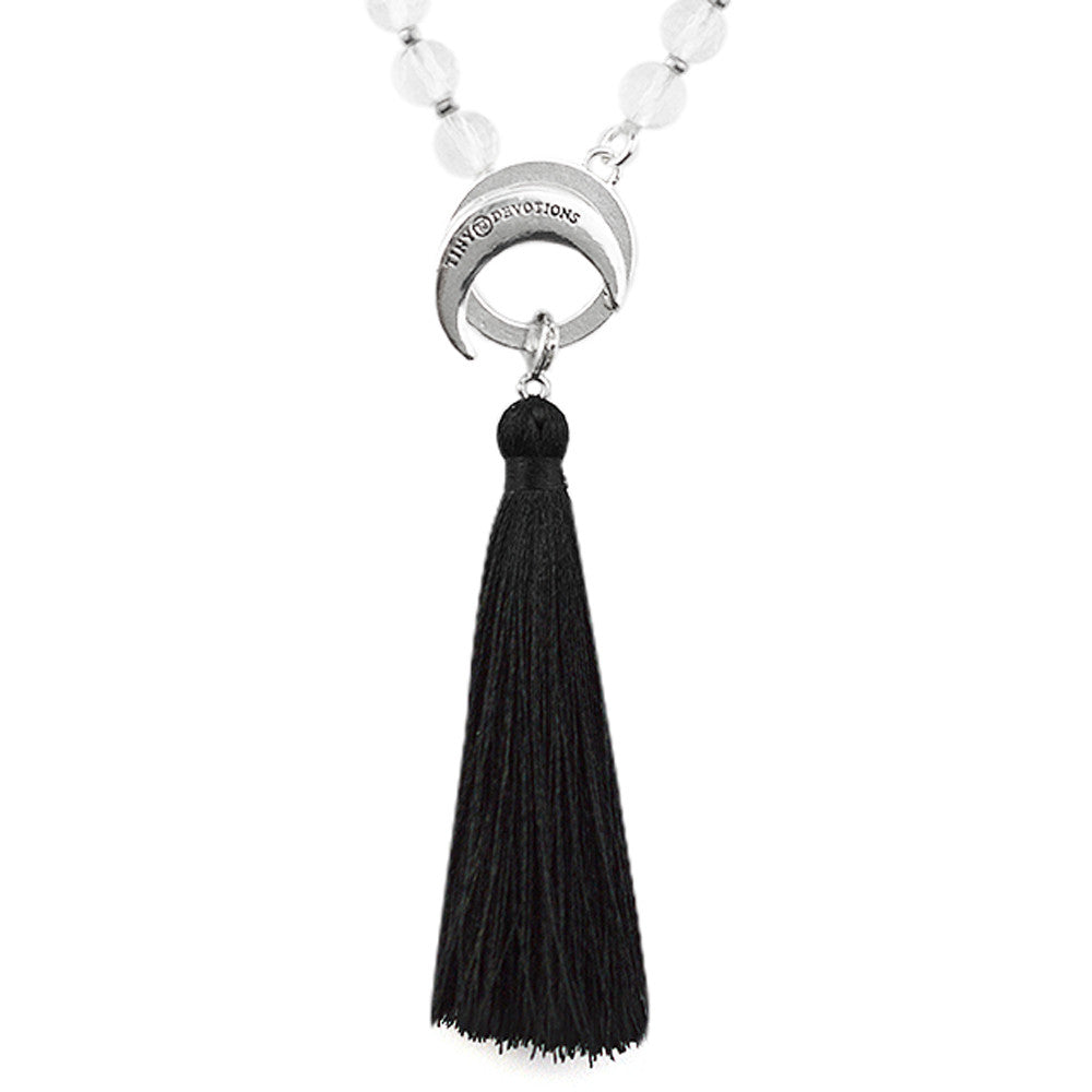 Inner Strength Silk Tassel - Silver - Tiny Devotions Gemstone 108 Mala Beads Intentional Jewelry