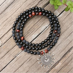 Black Onyx Healing Mala Bead Necklace - Tiny Devotions Gemstone 108 Mala Beads Intentional Jewelry