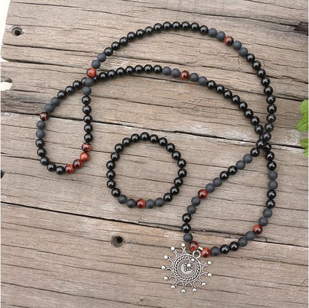 Black Onyx Healing Mala Bead Necklace - Mala Beads Meditation Accessories and Yoga Jewelryby Tiny Devotions