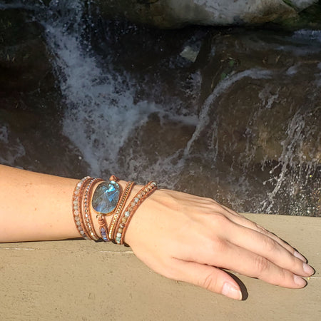 Faceted Labradorite Wrap Mala Bracelet - Mala Beads Meditation Accessories and Yoga Jewelryby Tiny Devotions