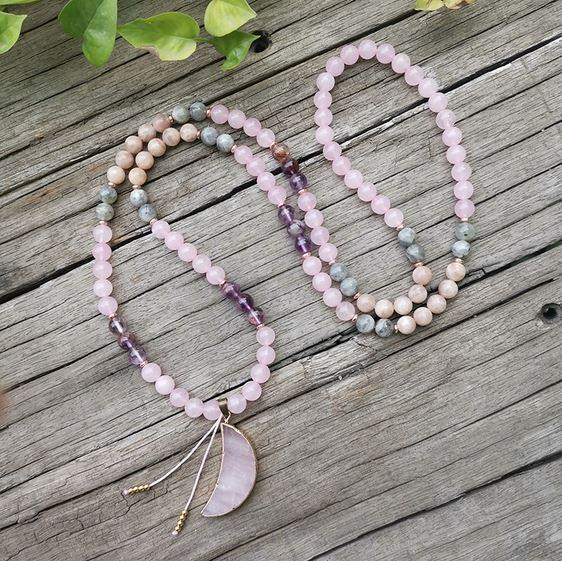 Over The Moon Mala Bead Necklace - Tiny Devotions Gemstone 108 Mala Beads Intentional Jewelry
