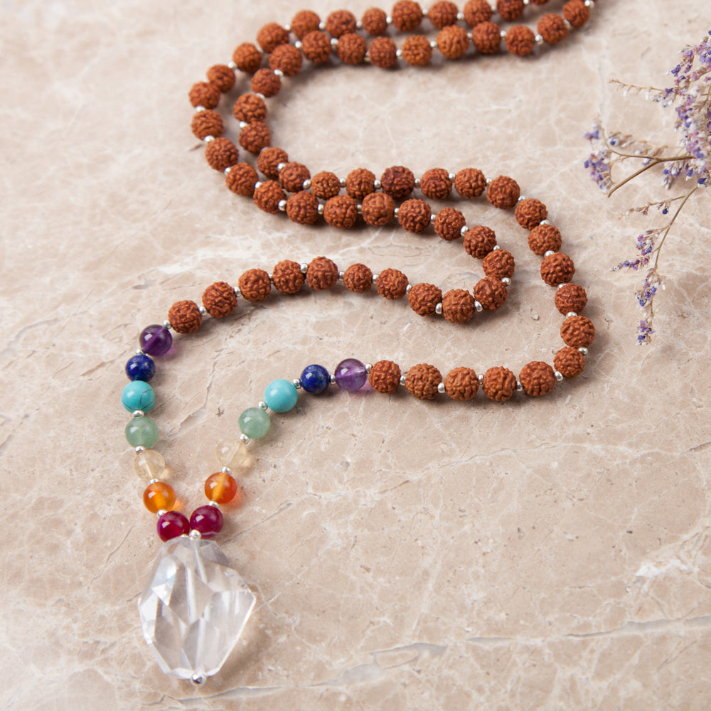 Rudraksha Chakra Mala - Mala Beads Meditation Accessories and Yoga Jewelry by Tiny Devotions