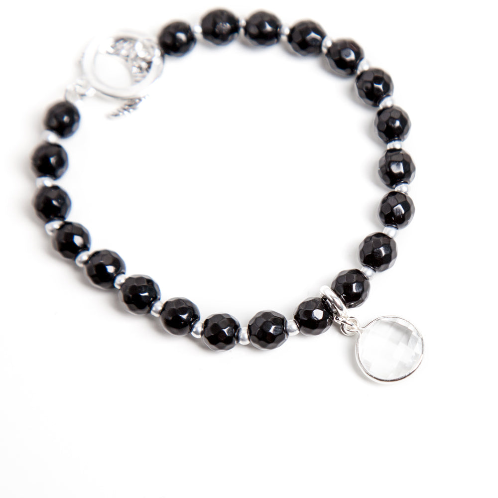 Black Onyx Limitless Bracelet - Silver - Tiny Devotions Gemstone 108 Mala Beads Intentional Jewelry