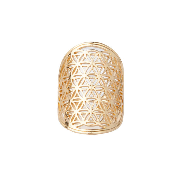 Gold Flower of Life Ring by Tiny Devotions