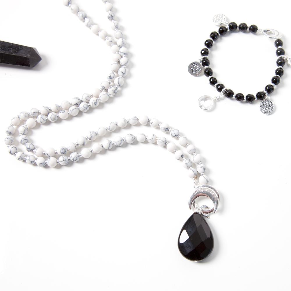 Black Onyx Strength Amplifier - Silver - Tiny Devotions Gemstone 108 Mala Beads Intentional Jewelry