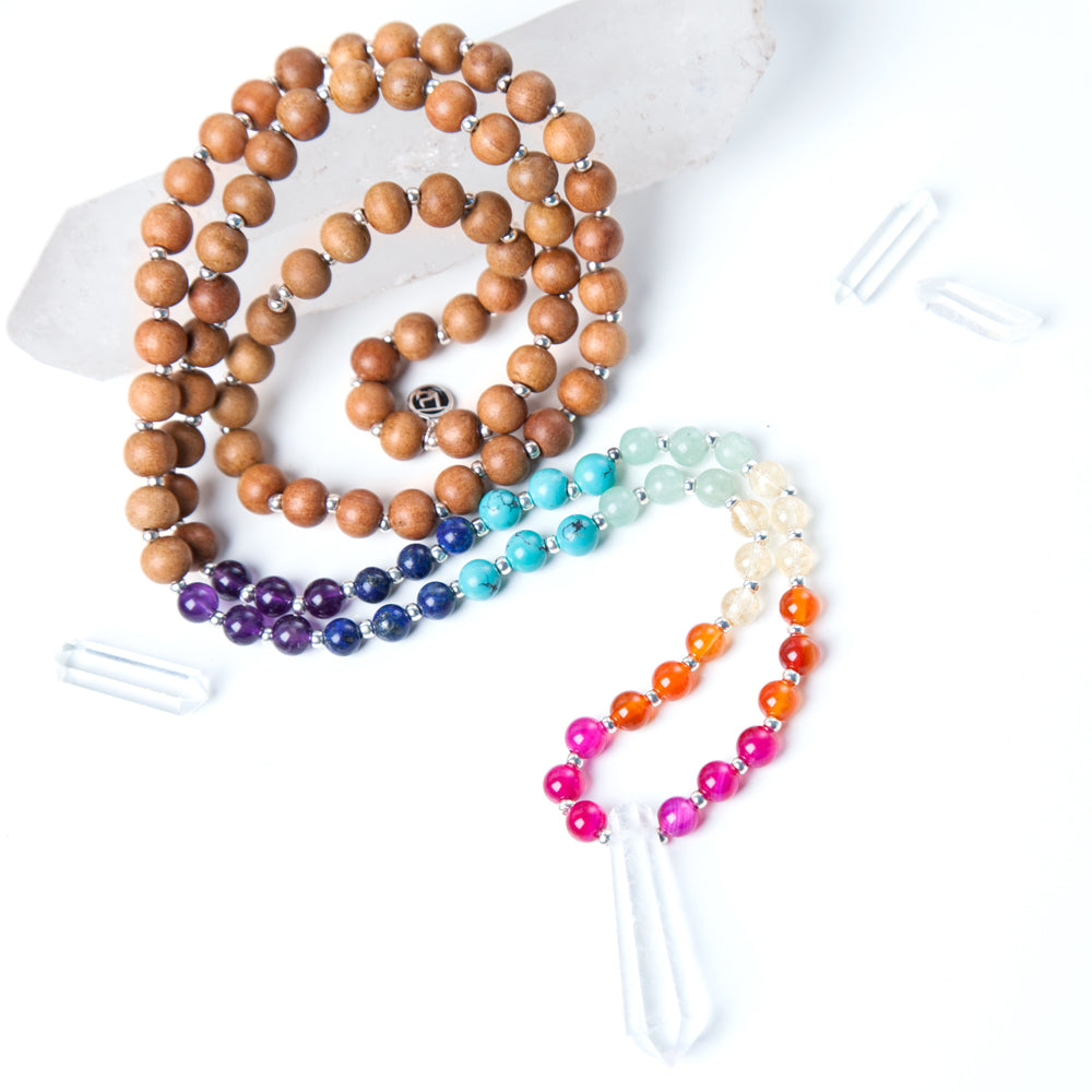 Chakra Mala Bead Necklace - Mala Beads Meditation Accessories and Yoga Jewelry by Tiny Devotions