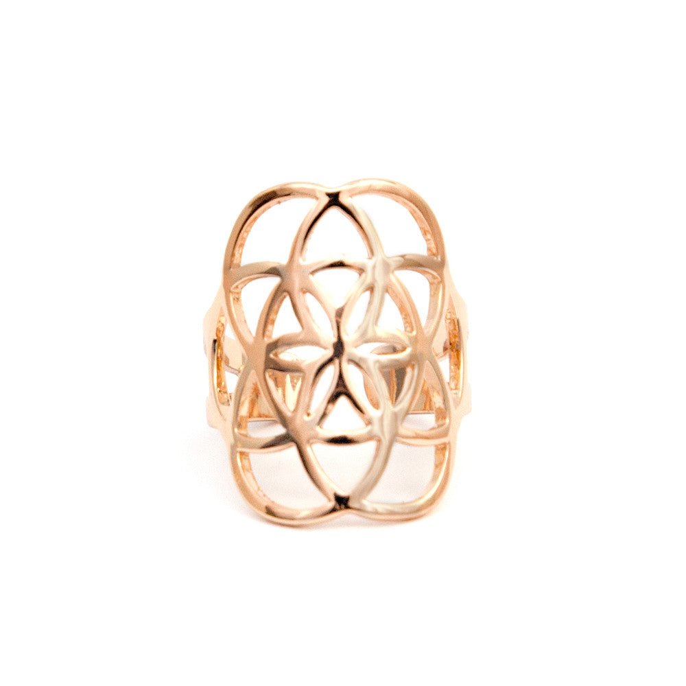 Rose Gold Seed of Life Ring